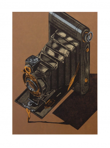 HAWK-EYE (brown background), Robert Cottingham. 2014