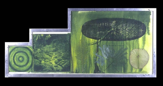 Untitled (target, garden, lily pad), Judy Pfaff. 2001