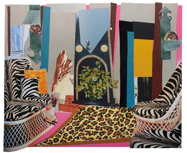 Interior: Zebra with Two Chairs and Funky Fur, Mickalene Thomas. 2014