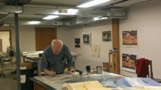 Photo of Richard Bosman in the Studio