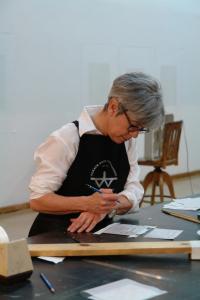 Photo of Suzanne Caporael in the Studio