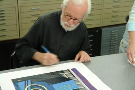 Photo of Robert Cottingham in the Studio
