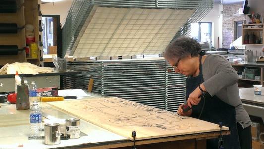 Photo of Alison Saar in the Studio