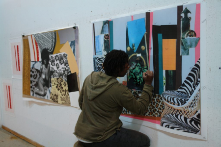 Photo of Mickalene Thomas in the Studio