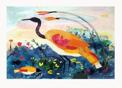 Lake Site with Amber Heron, Valentina DuBasky. 2014