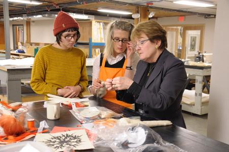 Lesley Dill with Paula Panczenko and UW student , 2016
