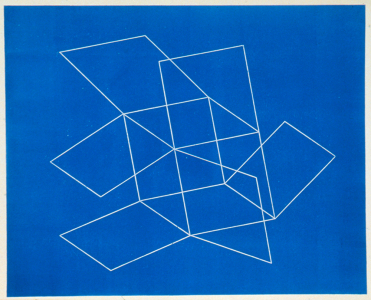 Flying Open Cube (blue), Patrick Ireland. 1993