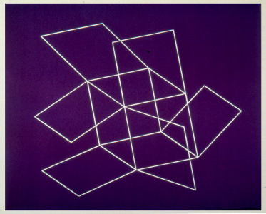 Flying Open Cube (purple), Patrick Ireland. 1993