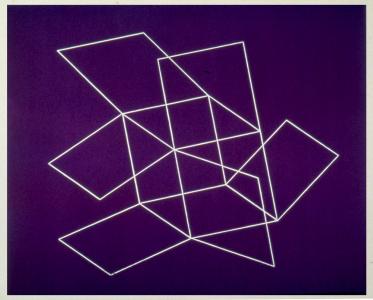 Flying Open Cube (purple), Patrick Ireland. 1993