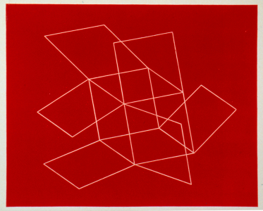 Flying Open Cube (red), Patrick Ireland. 1993