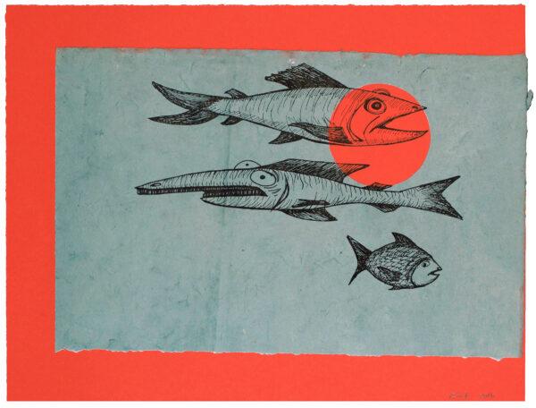Bill Rock, Three Fish (Orange Spotlight), 2016