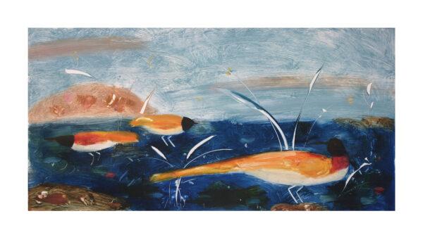 Valentina DuBasky, Blue Meadow with Amber Birds, 2013